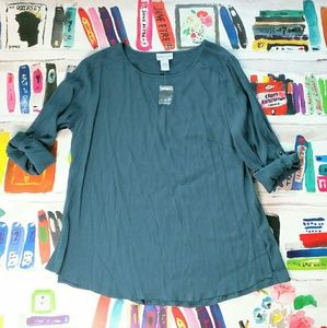 NEW Soft Surroundings Teal Blue Rayon Blouse L
